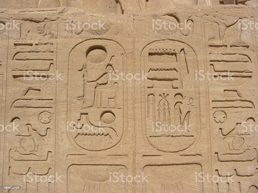 Cartouche (Name of the king in Egyptian hieroglyphs) royalty-free stock photo