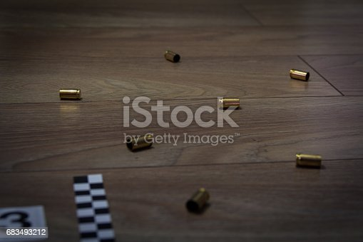istock Cartridge cases found at the crime scene. Designated number three 683493212