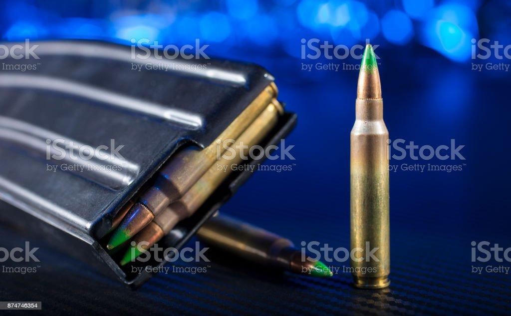 AR-15 cartridges and magazines stock photo