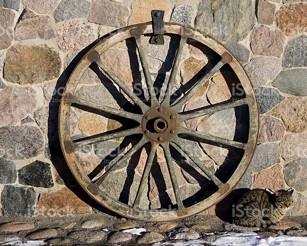 Cart-wheel and cat royalty-free stock photo