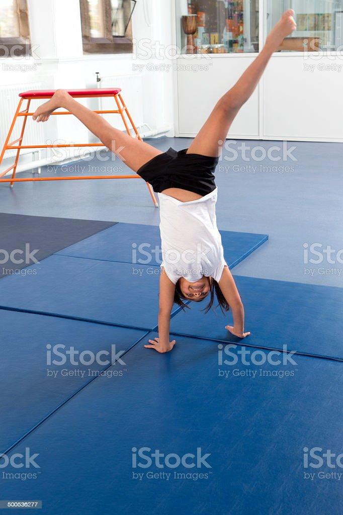 Cartwheel At School stock photo