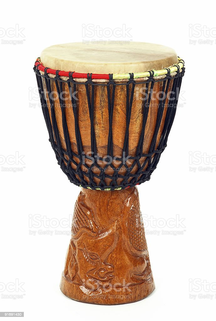 Carved African djembe drum stock photo