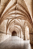 The carved arched corridor in the monastery of Jeronimos in Lisbon, Portugal (Mosteiro dos Jeronimos)