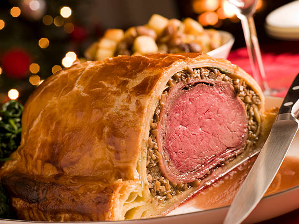 Carved Beef Wellington stock photo