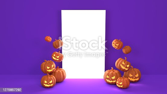 Carved colorful pumpkins for Halloween holiday spooky background with fluorescent neon color pink and blue background with empty white banner. Easy to crop for all your social media and design need. Halloween concept. Produced with 3D software and PS.