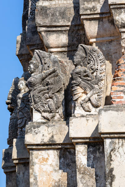 geschnitzten Details an den Pancharam des Wat Si Sawai im historischen Park von Sukhothai, Thailand, Asien – Foto