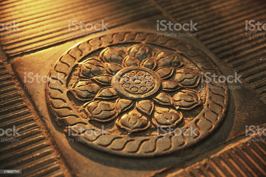 Carved Flower design on Stone royalty-free stock photo