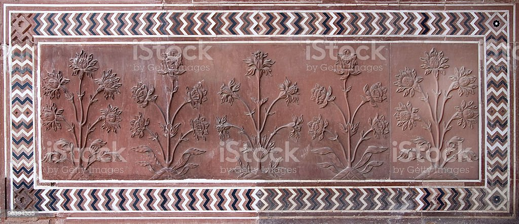 Carved Flower Mural from Taj Mahal - Royalty-free Agra Stock Photo