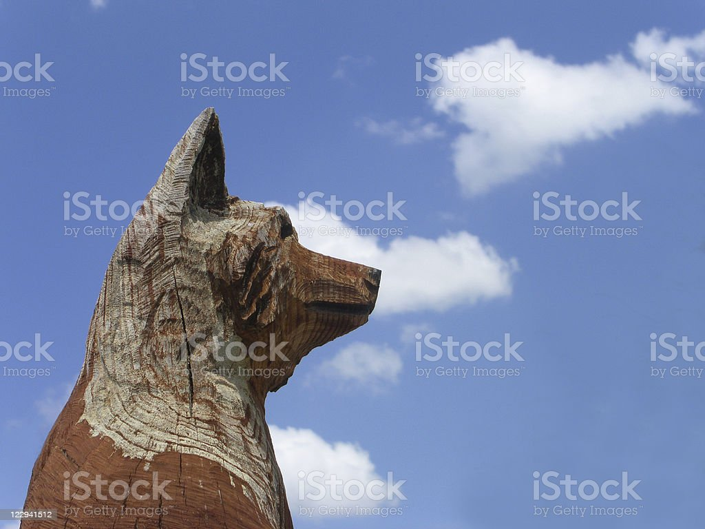 Carved Fox Statue with Sky royalty-free stock photo