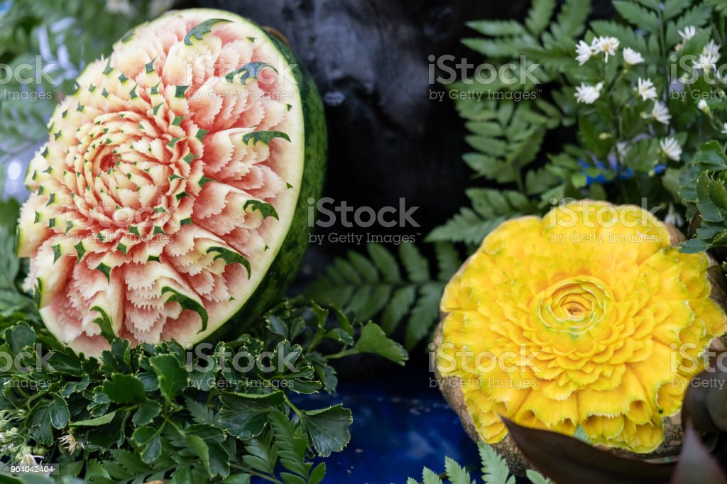 Carved fruit show step. Thailand. - Royalty-free Art Product Stock Photo