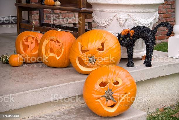 Carved halloween jack o lantern pumpkins black cat porch decorations picture id176053440?b=1&k=6&m=176053440&s=612x612&h=hwdsrebqhm2h95jbuqztc323scajwdrig01fordxbjs=