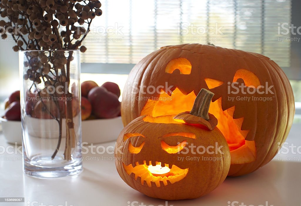 Carved halloween pumpkin royalty-free stock photo