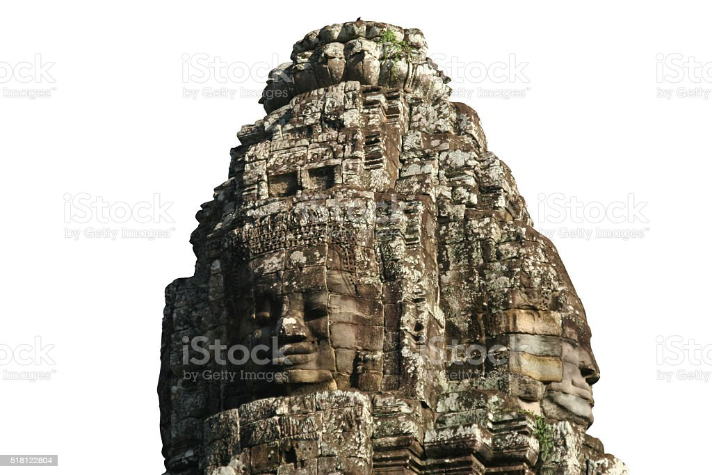 Carved heads at bayon temple stock photo