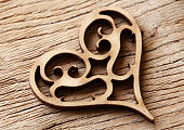 Wooden carved heart ornament