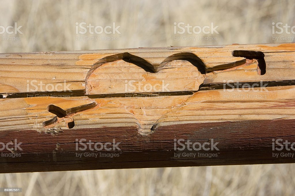 Carved Heart With Arrow royalty-free stock photo
