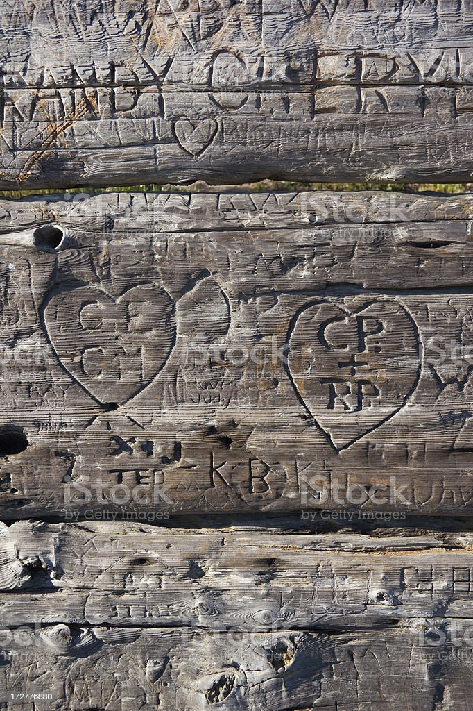 Carved Initials stock photo
