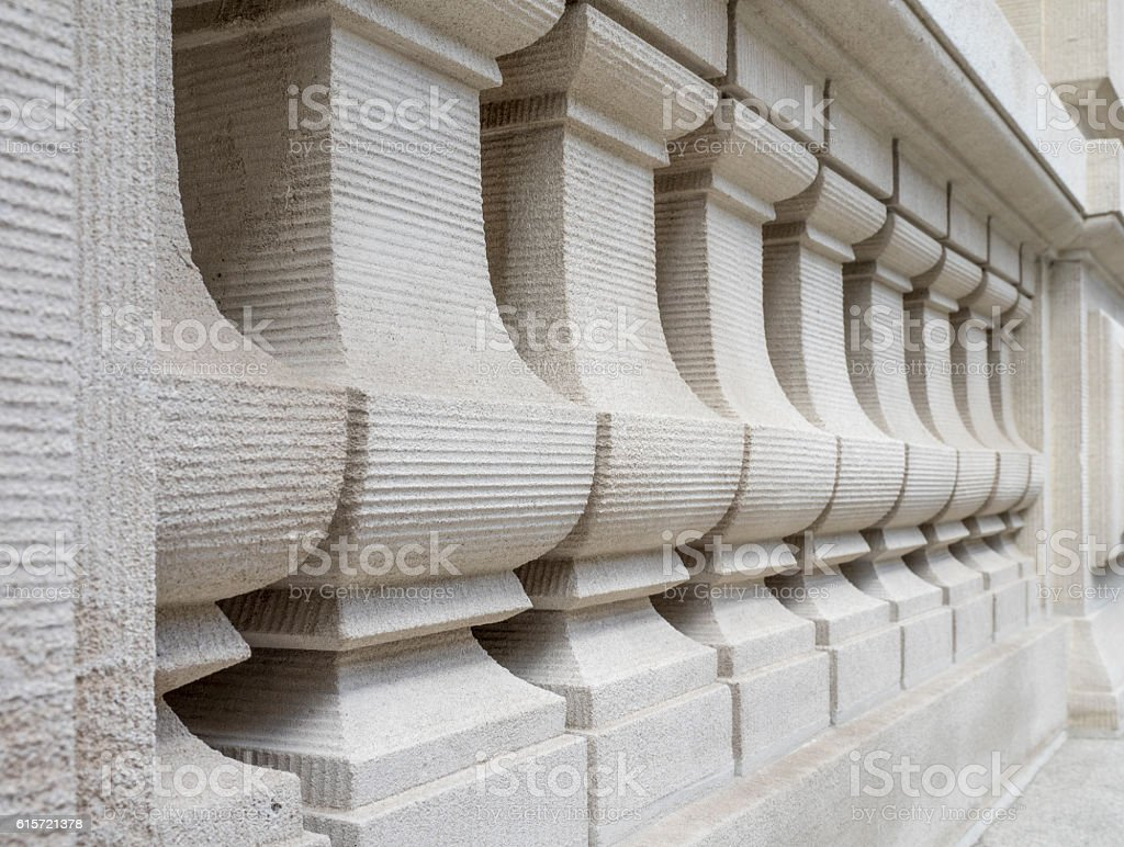 Carved Limestone Railing Balusters stock photo