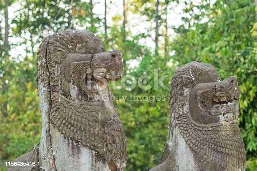 478956028istockphoto Carved lion sentries at Preah Ko temple, Cambodia 1156435416