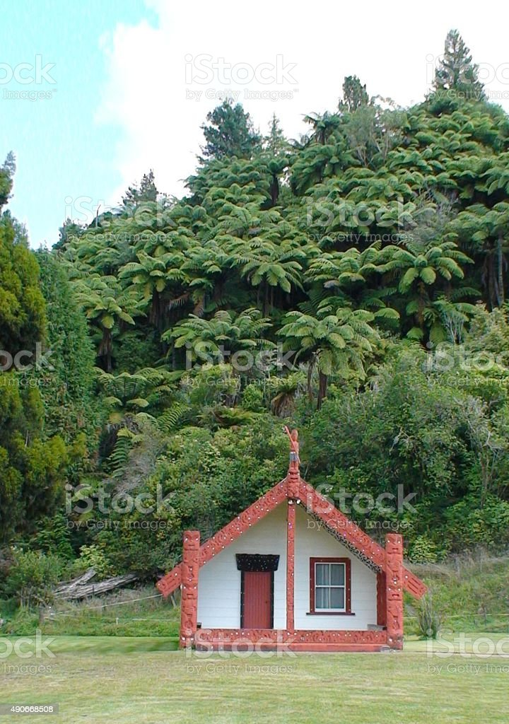 Geschnitzte maori meeting house-Kultur. – Foto