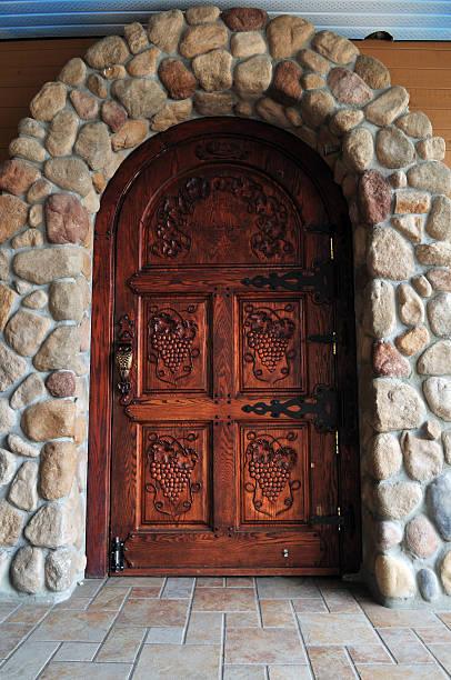 Carved oak door stock photo