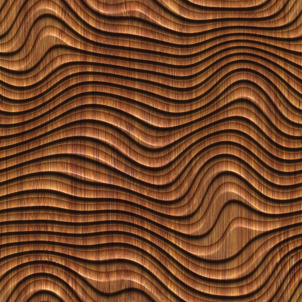 Carved pattern on wood background seamless texture, 3d illustration stock photo