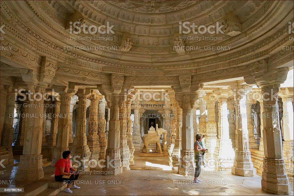 Carved Ranakpur Jain Temple stock photo