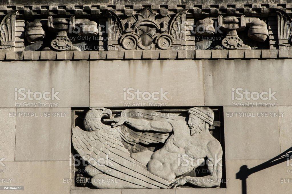 Carved relief of telephones on the Cincinnati & Suburban Telephone Building stock photo