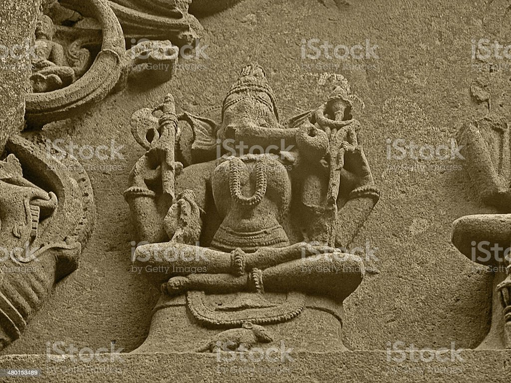 Carved Statue Lord Ganesha In Woman Form Stock