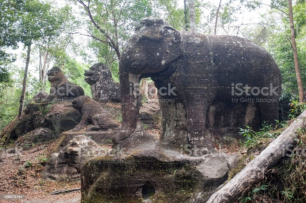 Carved Stone Animals on Mount Kulen, Cambodia stock photo