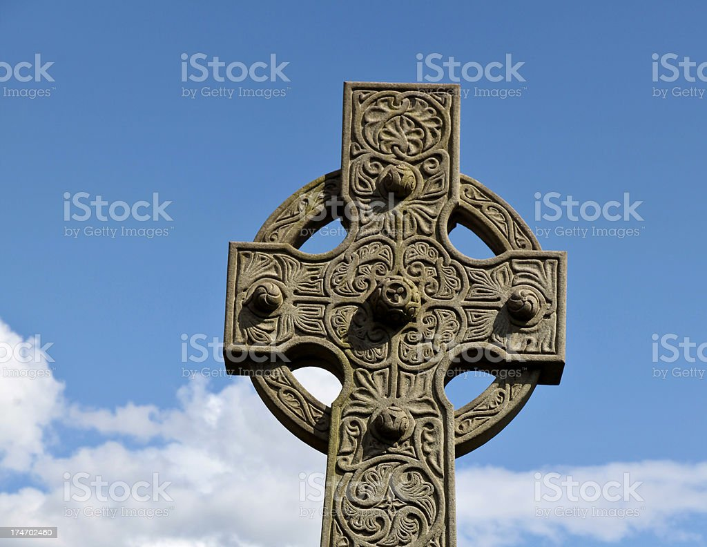 Carved stone Celtic cross detail royalty-free stock photo