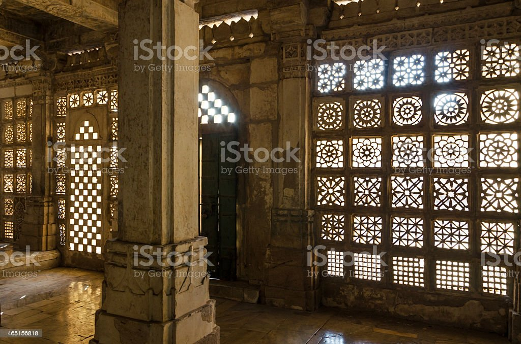 Carved stone grilles pattern at Sarkhej Roza mosque, Ahmedabad stock photo