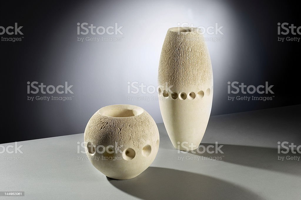Carved stone vases stock photo