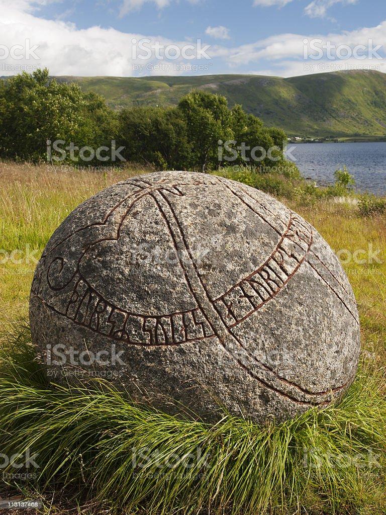 Carved viking stone stock photo