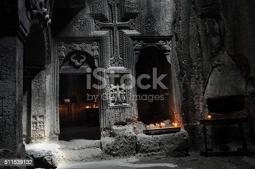 istock Carved wall of Geghard, Armenia 511539132