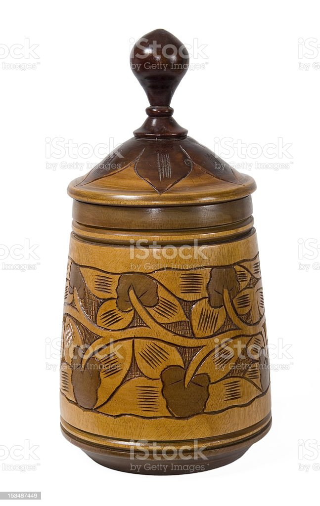 carved wood canister royalty-free stock photo