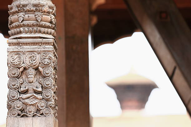 Carved wood column-Chayslin Dega Mandap-Bhaktapur-Nepal. 0263 stock photo