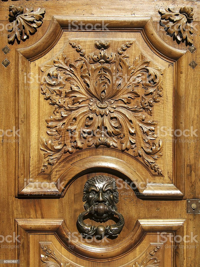 Carved wood door royalty-free stock photo