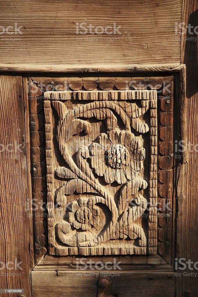 Carved Wood Panel Door detals stock photo