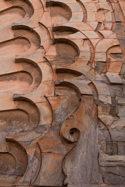 Carved wooden architectural detail, Marakesh Medina stock photo