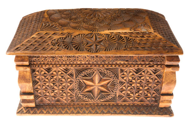 carved wooden box stock photo