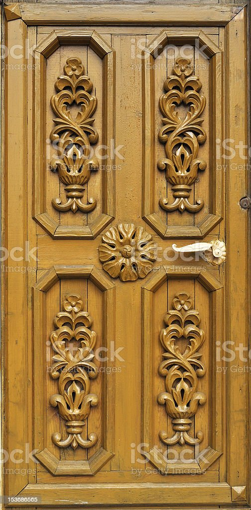 Carved wooden door royalty-free stock photo