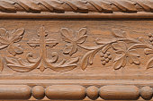Close up shot of some wooden decoration in northern Romania.