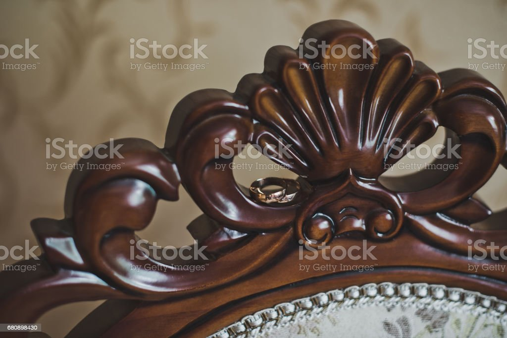 Carved wooden patterned backrest 5123. royalty-free stock photo