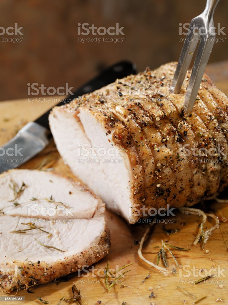 Carving a Pork Roast stock photo