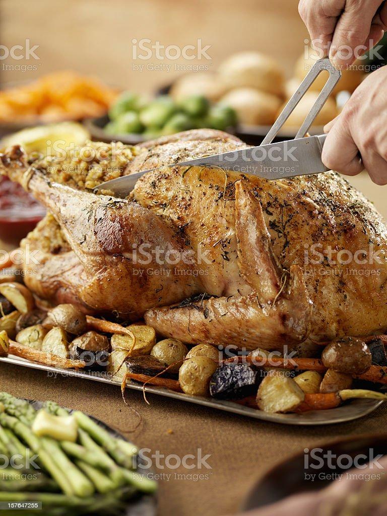 Carving A Roast Turkey stock photo