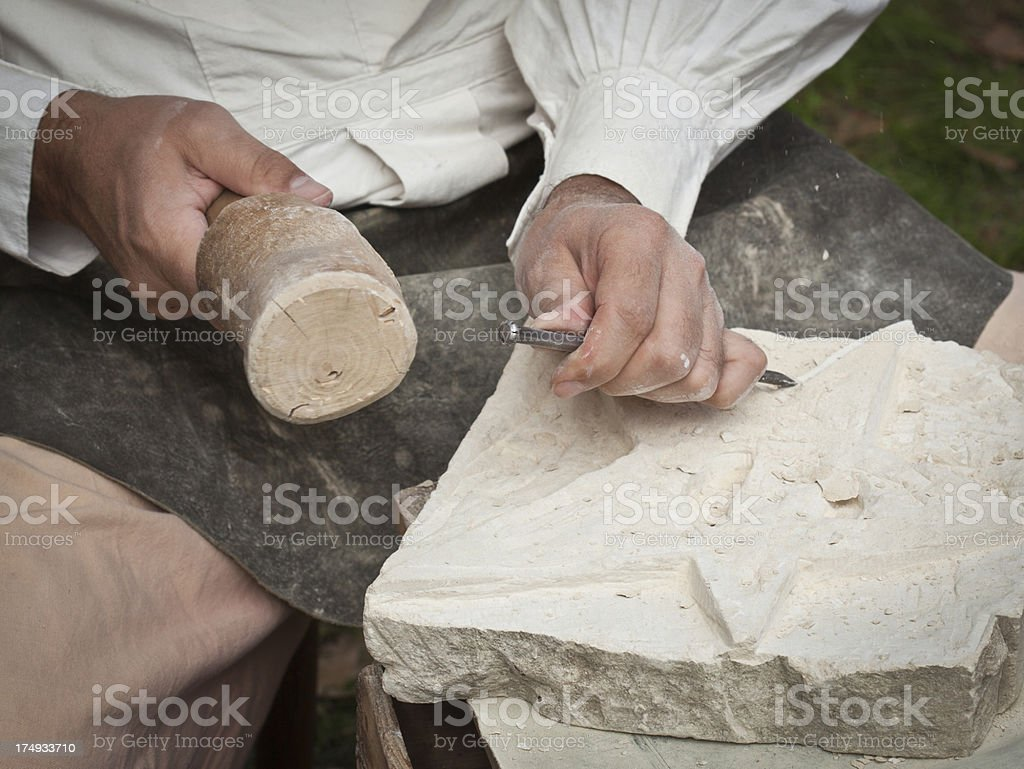 Carving A Star Out Of Stone, Detail stock photo