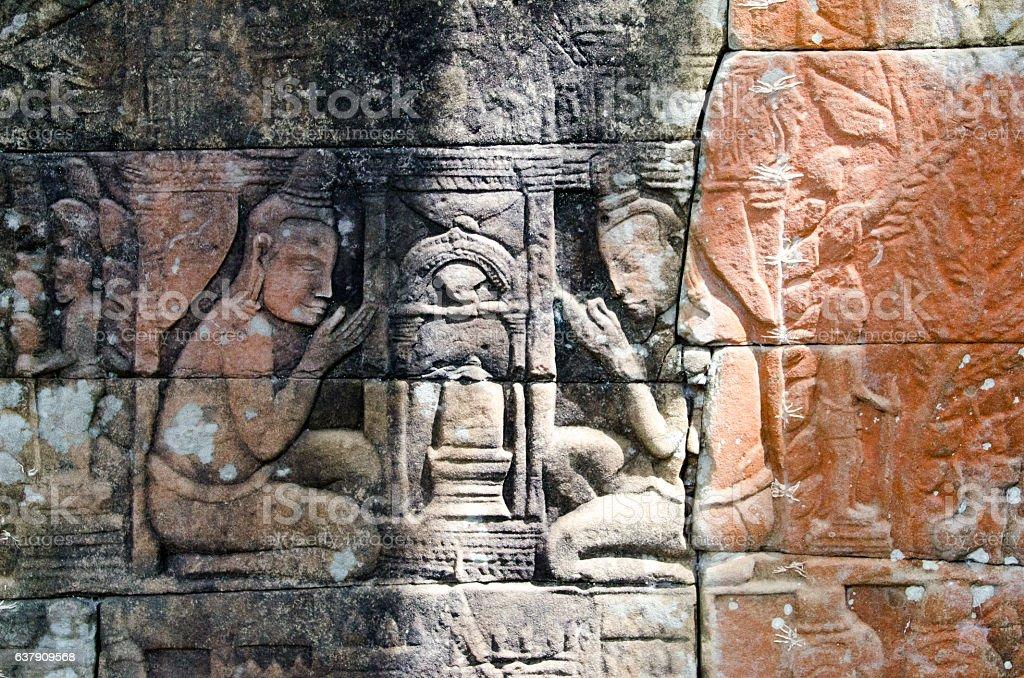 Carving depicting linga worship stock photo
