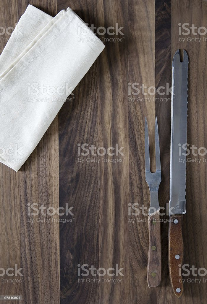 carving fork and knife royalty-free stock photo