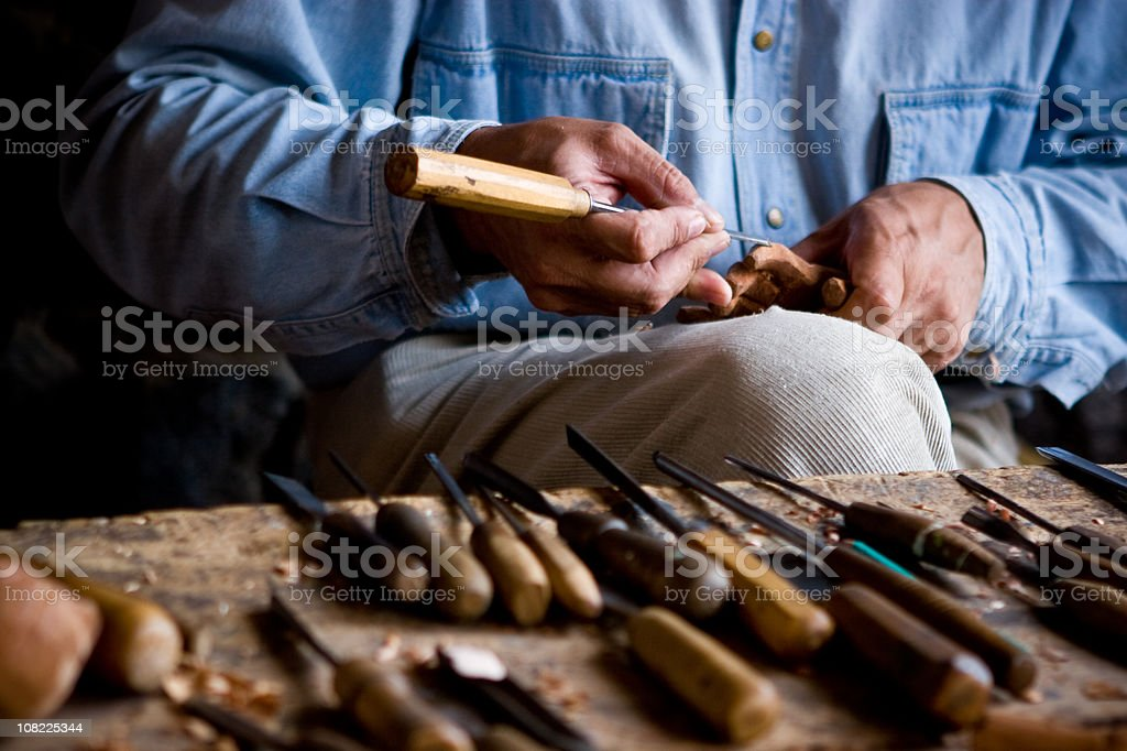 Carving Hands royalty-free stock photo