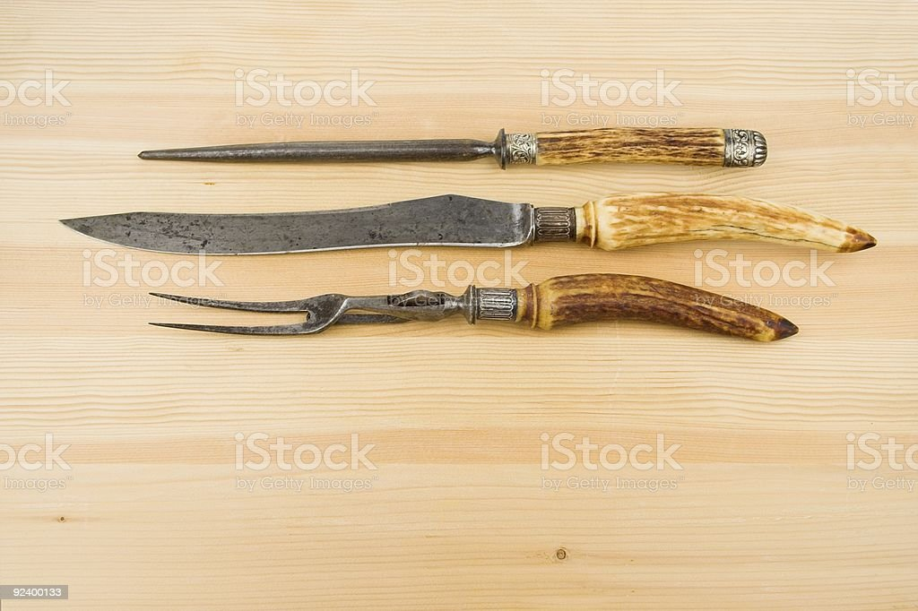 Carving Knife Fork And Steel royalty-free stock photo